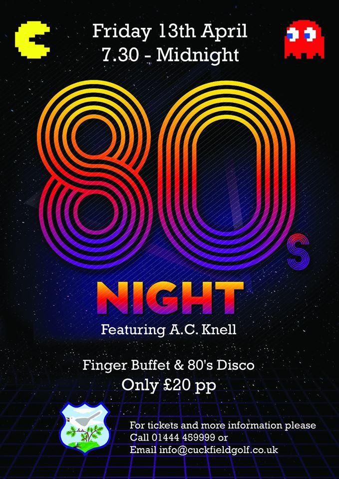 80's Night at Cuckfield Golf Club